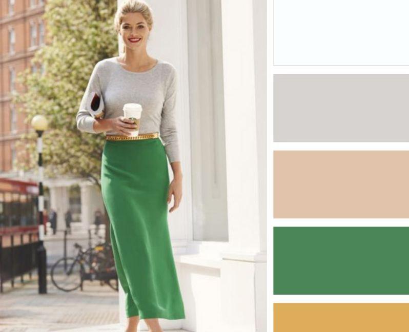 اللون البيج مع الأخضر