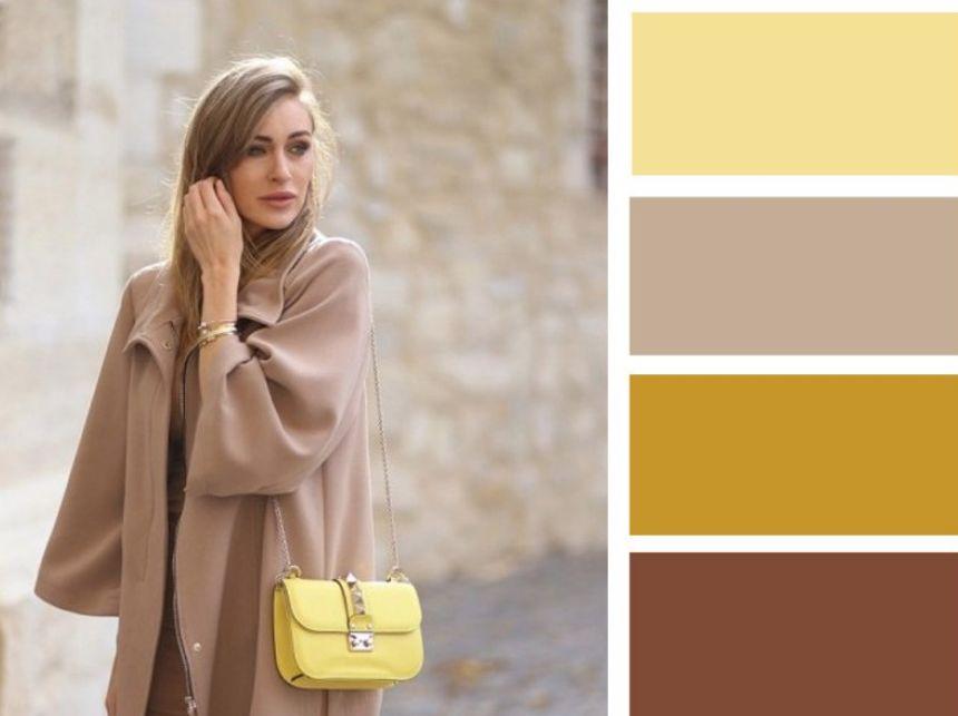 اللون البيج مع الأصفر الداكن