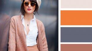 اللون البيج مع البرتقالي والبني