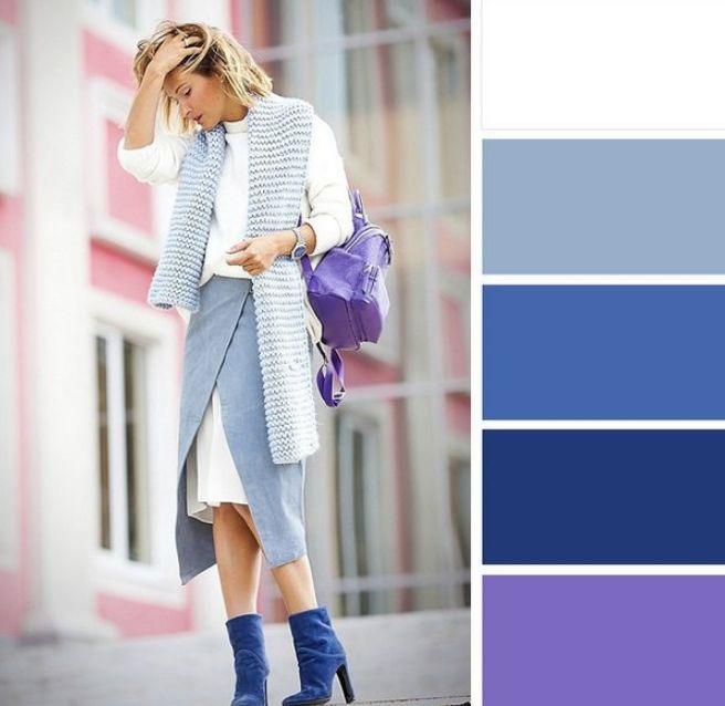 اللون الكحلي مع الأبيض والأزرق
