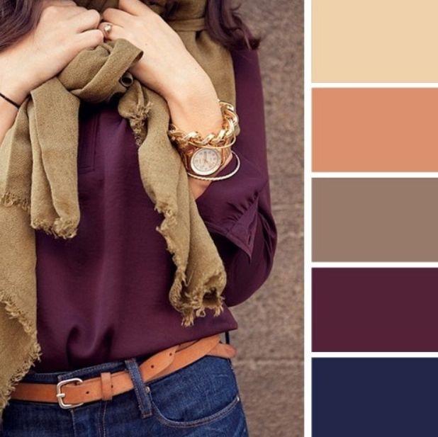 اللون الكحلي مع البيج والأرجواني الداكن