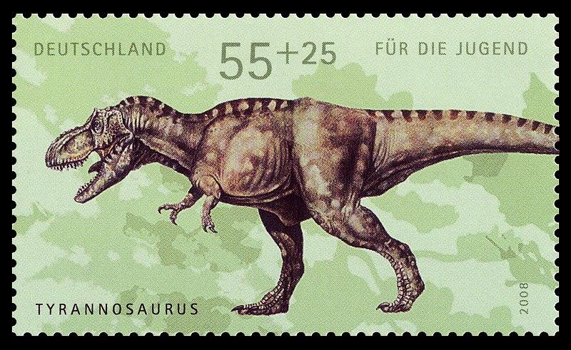 تصوير للتيرانوصور على طابع بريد ألماني.