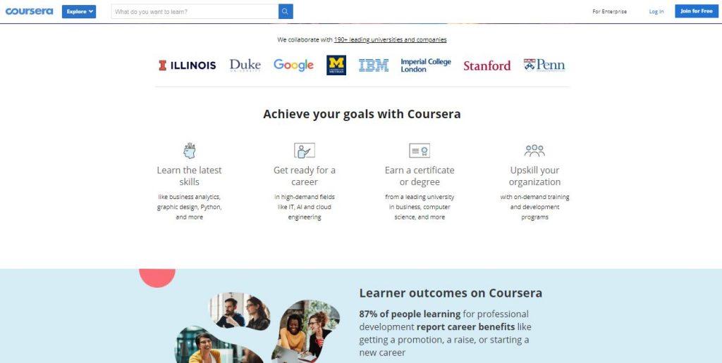 خطوات التعلم في موقع كورسيرا