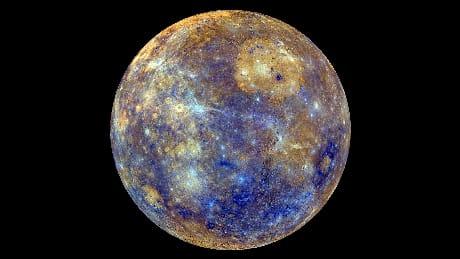 صورة ملونة لكوكب عطارد - أضغر كواكب المجموعة الشمسية