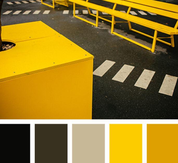 الألوان الصفراء تناسب اللون الرمادي
