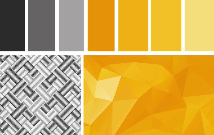 الذهبي الألوان التي تناسب اللون الرمادي