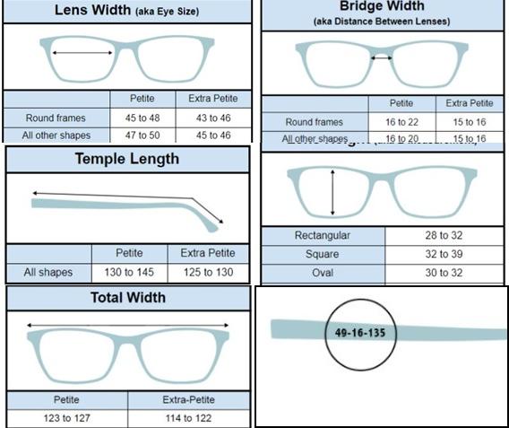 أبعاد صغيرة للنظارات