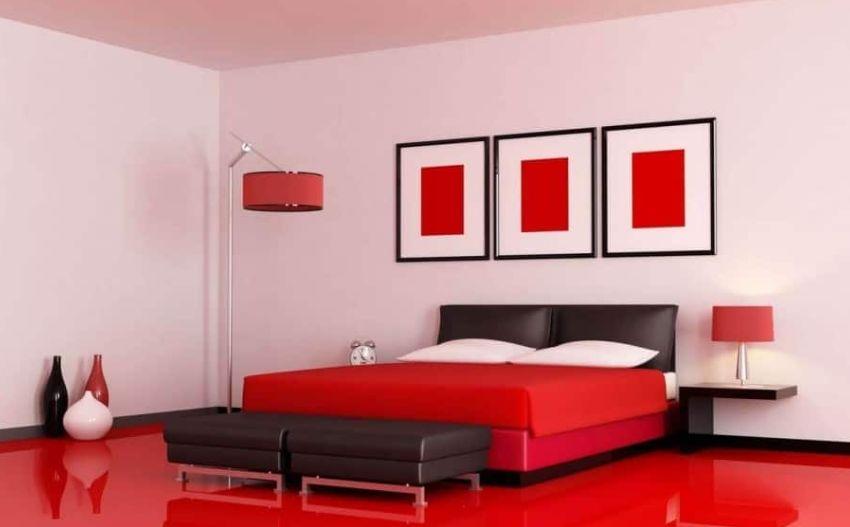 3- الأحمر هو أفضل لون لغرف النوم