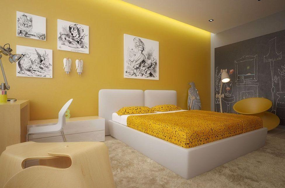 3- الأصفر هو أفضل لون لغرف النوم