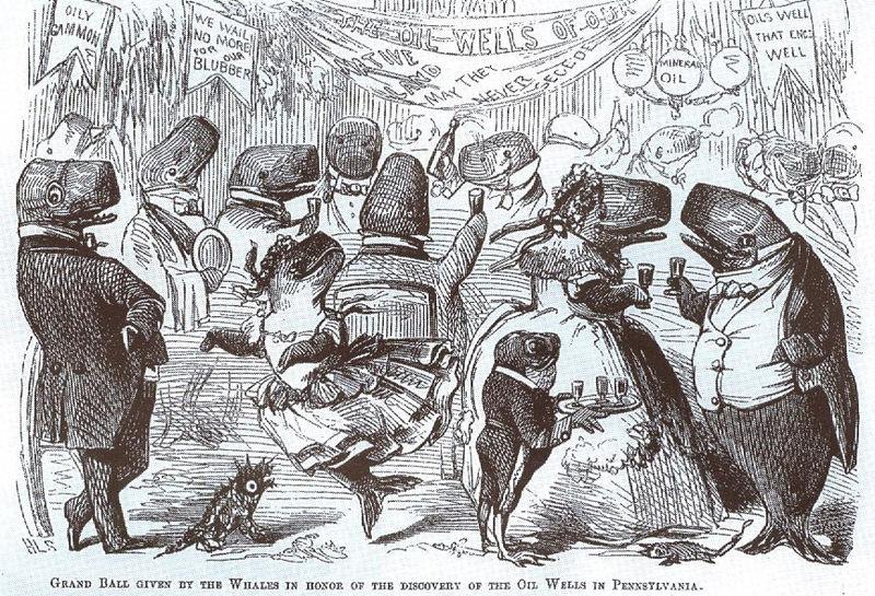 صورة تظهر حيتان العنبر تحتفل باكتشاف آبار النفط - مجلت فانتي فير عدد أبريل عام 1861