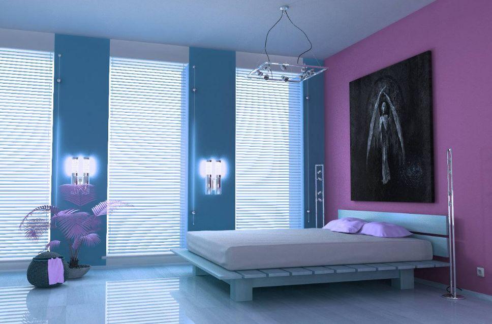 البنفسجي الغامق مع الأزرق السماوي الألوان التي تناسب اللون البنفسجي الغامق في الديكور
