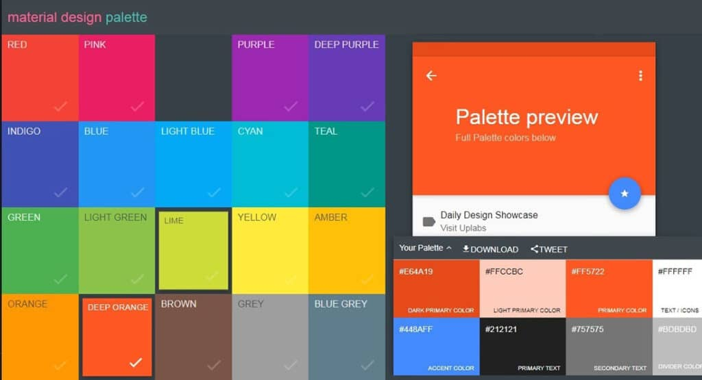 12 – Material palette